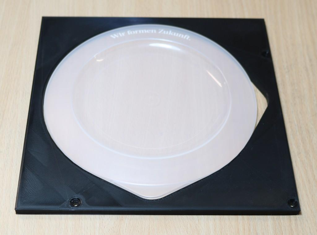 Schablone für die Fixierung eines flexiblen Bowl-Deckels